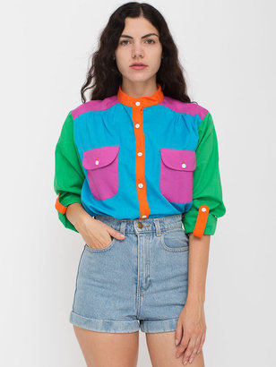 American Apparel Vintage Colorblock Silk Button-Up Blouse