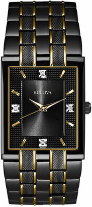 Bulova Men's Diamond Accent Black and Gold-Tone Stainless Steel Bracelet Watch 30mm 98D004 $399 thestylecure.com