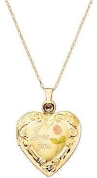 Italian Gold 14k Gold Necklace, I Love You Reversible Locket