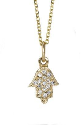 Sarah Chloe 14kt Natalie Diamond Hamsa Pendant Necklace