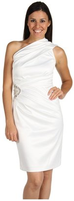 Eliza J One Shoulder Dress w/ Pearl Rhinestone Patch (Ivory) - Apparel