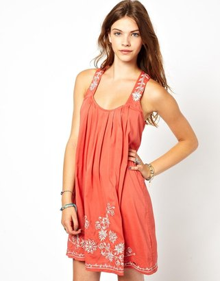 Pepe Jeans Swing Dress With Embroidery - Orange