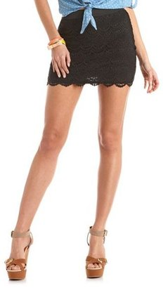 Charlotte Russe Scalloped Lace Mini Skirt