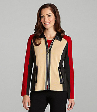 Exclusively Misook Tri-Color Faux-Leather Jacket