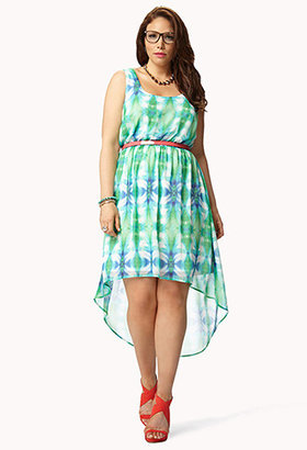 Forever 21 Electric High-Low Tie-Dye Dress