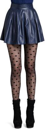 Alice + Olivia Short Pleated Leather Skirt
