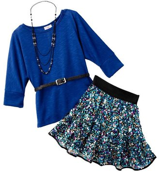 Knitworks dolman belted top and sequin scooter set - girls 7-16