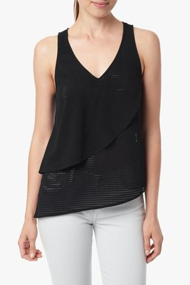 7 For All Mankind Perforated Drape Tank In Black