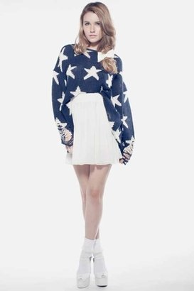 Wildfox Couture Seeing Stars Lennon Winter Sweater in Uniform Navy