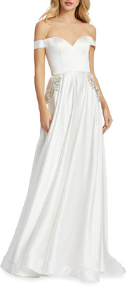Mac Duggal Off-the-Shoulder Embellished Satin Chiffon A-Line Gown