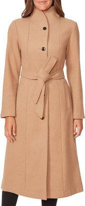 Wool-Blend Belted Long Coat