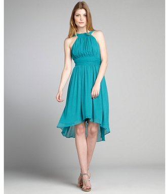 Max & Cleo teal crinkle chiffon shirred high neck open back 'Penia' dress