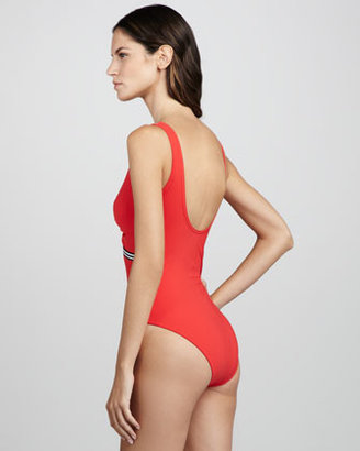 Karla Colletto Stripe-Trim One-Piece Swimsuit