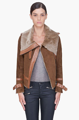Haute Hippie Brown Shearling Moto Jacket