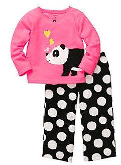 Carter's Girls' 12M-4T Pink 2-pc. Long Sleeve Panda Pajama Set