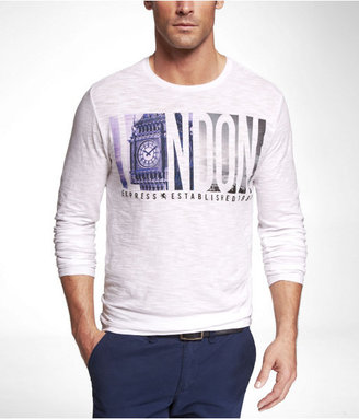 Express Fitted Long Sleeve Slub Graphic Tee - London