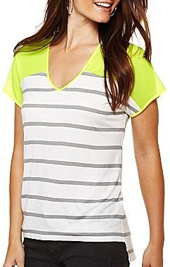 JCPenney a.n.a® Neon Chiffon Tee