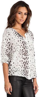 Joie Snow Leopard Silk Purine Blouse