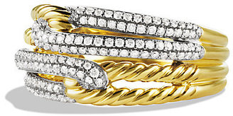 David Yurman Labyrinth Double-Loop Ring with Diamonds in Gold