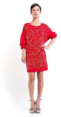 Denim Refinery The Gold Bead Red Sweater Dress