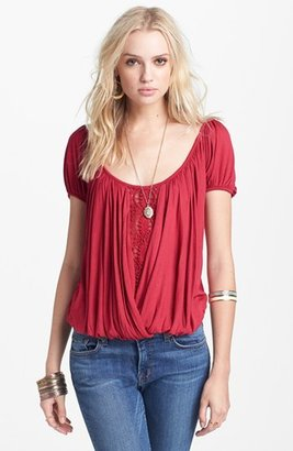 Free People 'Anns' Crochet Trim Gathered Top