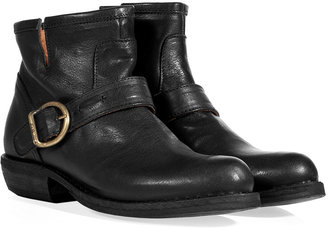 Fiorentini+Baker Fiorentini & Baker Black Leather Buckled Chad Ankle Boots