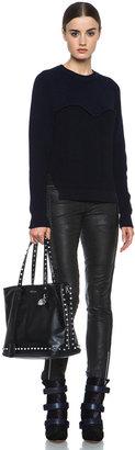 Alexander McQueen Stud Lined Shopper with Skull Padlock in Black