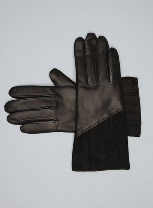 Portolano Pleated Suede Cashmere Lined Leather Gloves
