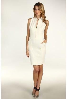 Catherine Malandrino Ponte Sleeveless Button Up Dress (Moon) - Apparel