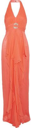 Mikael Aghal Embellished silk-georgette halterneck gown