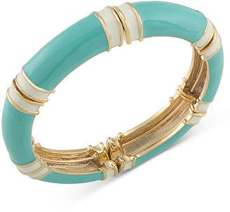 Carolee Bracelet, Gold-Tone Turquoise and White Stretch Bracelet