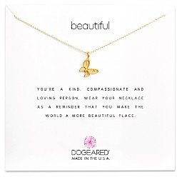 Dogeared 14K Gold-Dipped Butterfly Necklace, 16