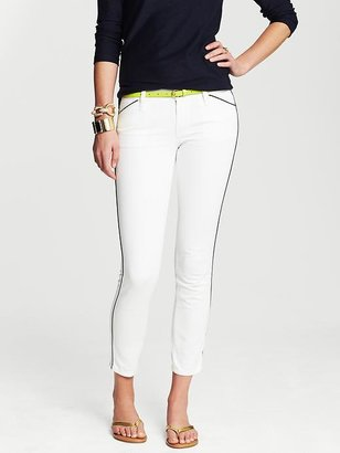 Banana Republic Piped White Skinny Ankle Jean