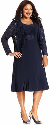 R & M Richards R&M Richards Plus Size Sleeveless Embroidered Dress and Jacket