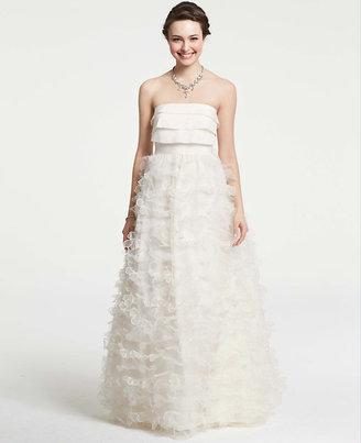 Ann Taylor Petite Petaled Strapless Wedding Dress
