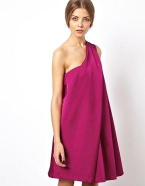 Asos Origami Dress in Heavy Satin - Pink