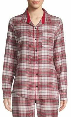 PJ Salvage On Holiday Plaid Cotton Pajama Top