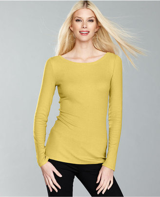 INC International Concepts Top, Long-Sleeve Boat-Neck Tee