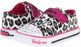 Skechers Shuffles - 10281N Lil Wild Lights (Toddler) (White Smooth/Black & Hot Pink Trim) - Footwear