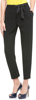 AK Anne Klein Stretch Crepe Pant With Self Belt