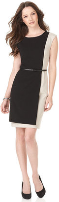 Calvin Klein Dress, Sleeveless Belted Colorblocked Sheath