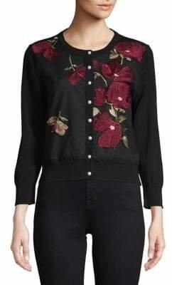 Karl Lagerfeld Paris Floral Embroidered Shrug