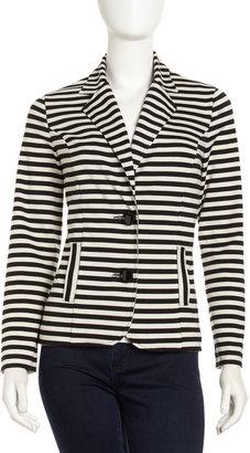 Neiman Marcus Striped Two-Button Blazer