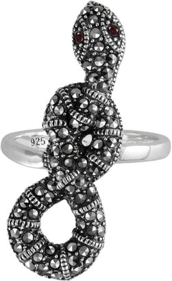 Swarovski Lavish By Tjm Lavish by TJM Sterling Silver Garnet Snake Ring - Made with Marcasite