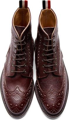 Thom Browne Brown Pebbled Leather Wingtip Boots