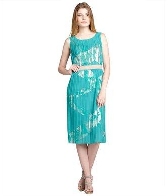 BCBGMAXAZRIA seafoam foiled plissé chiffon 'Zariah' sleeveless dress