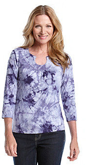 Ruby Rd.® Embellished Open Keyhole Neckline Abstract Print Top