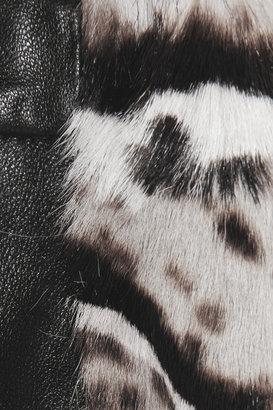 Christopher Kane Animal-print goat and leather skirt