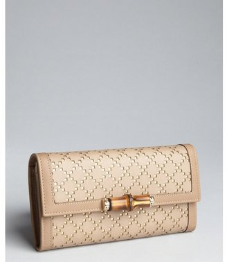 Gucci taupe and gold diamante cutout leather bamboo wallet