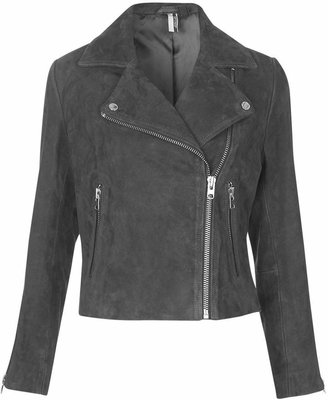 Topshop Suede leather biker jacket